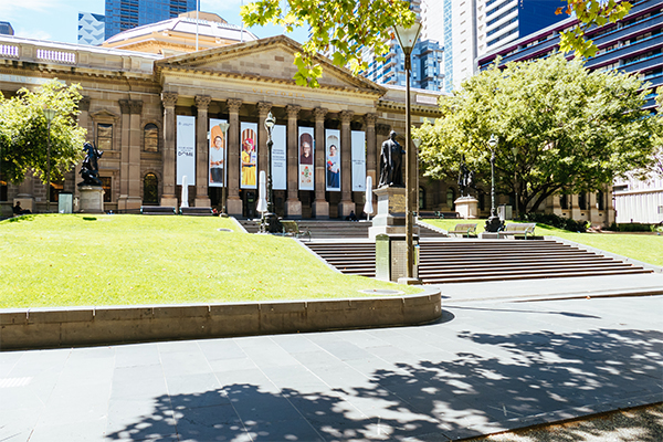 The steps and front of the State library Victoria